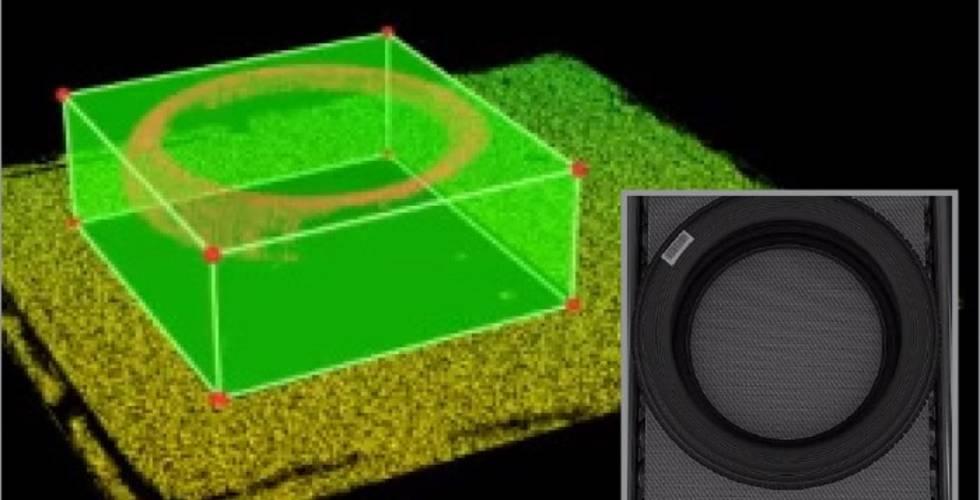 Profildaten der 3D-Punktwolke, zu 2D-Bilddaten kalibriert