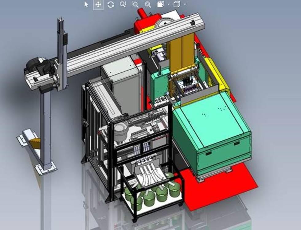 Automation SGM mit Insertumspritzung und Sepro Entnahmehandling